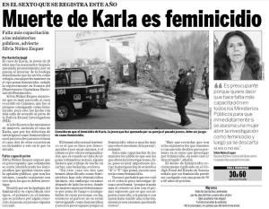 Muerte de Karla es feminicidio, OCNF